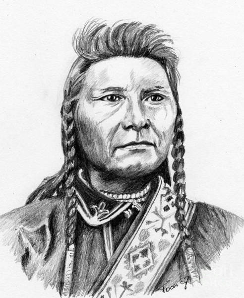 Drawing - Chief Joseph by Toon De Zwart