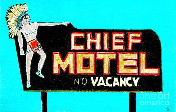 Neon Drawing - Chief Motel by Glenda Zuckerman