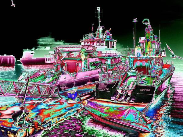 Fireboat Wall Art - Digital Art - Chief Seattle In The Fog by Tim Allen