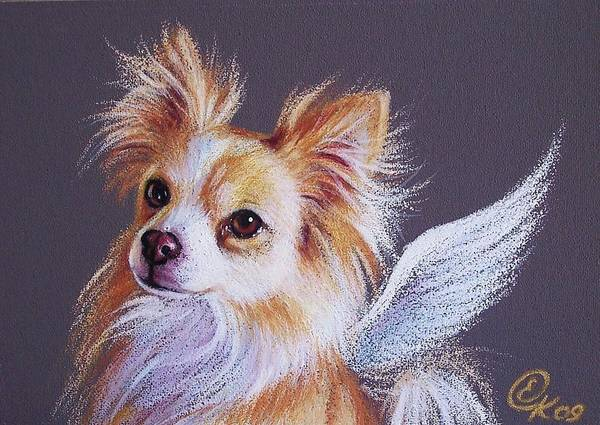Drawing - Chihuahua Angel by Elena Kolotusha