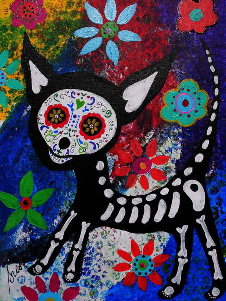 Wall Art - Painting - Chihuahua Day Of The Dead by Pristine Cartera Turkus