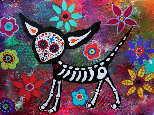 Wall Art - Painting - Chihuahua Dia De Los Muertos by Pristine Cartera Turkus