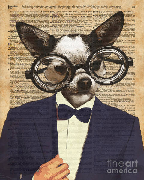 Wall Art - Digital Art - Chihuahua Hipster Dictionary Art by Anna W