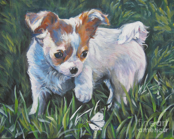 Chihuahua Painting - Chihuahua Puppy With Butterfly by Lee Ann Shepard