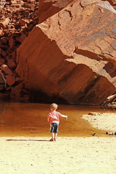 Photograph - Child At Upper Emerald Pool-zion National Park by PJ Boylan