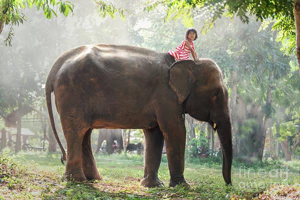 Wildlife Er Photograph - Child Girl Riding On Baby Elephant by Sasin Tipchai