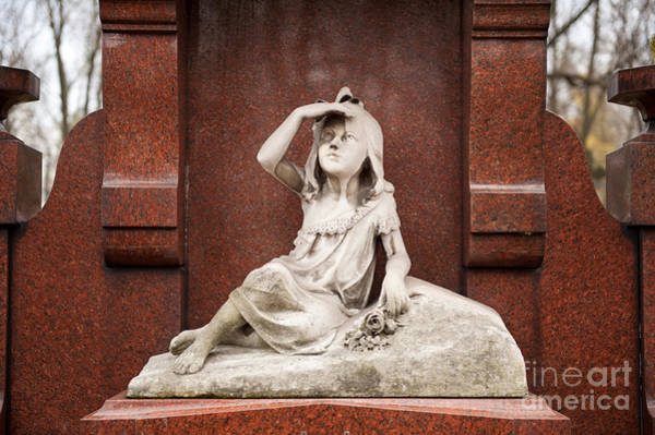 Wall Art - Photograph - Child Girl Statue On Red Grave by Arletta Cwalina