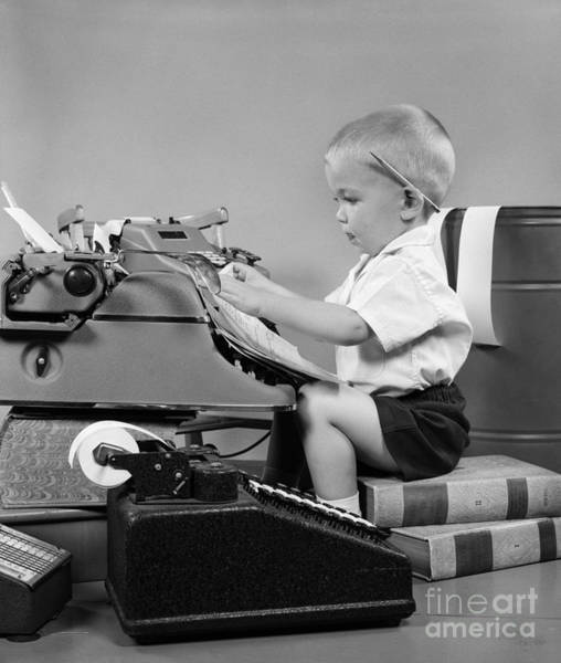Bookkeeper Photograph - Child Playing Accountant, C.1950s by H Armstrong Roberts ClassicStock
