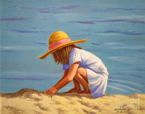 Painting - Child Playing In The Sand by Christopher Shellhammer