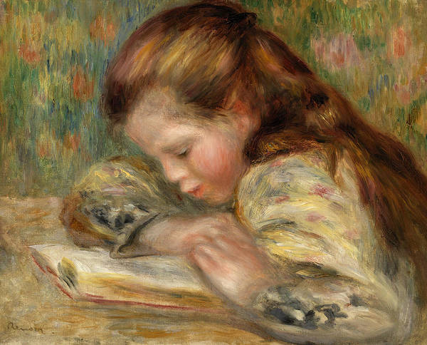 Wall Art - Painting - Child Reading by Pierre-Auguste Renoir