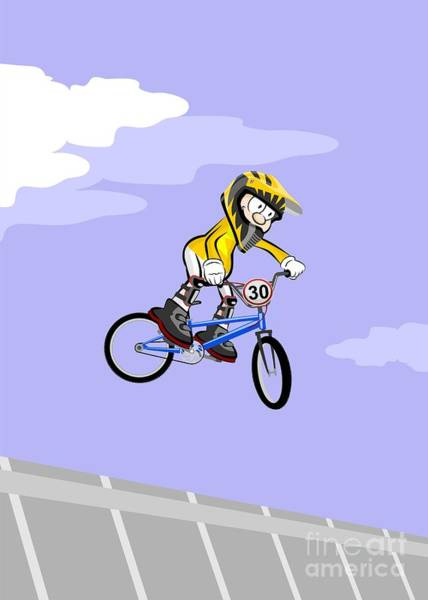 Digital Art - Child Rider Jumping And Flying In Your Bmx Bicycle by Daniel Ghioldi