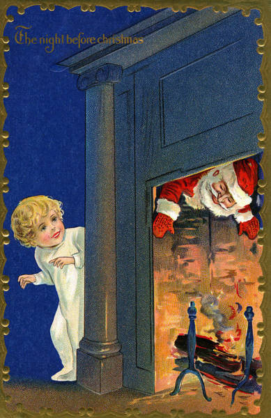 Delivering Painting - Child Watches As Santa Comes Down Chimney On Christmas Eve by American School