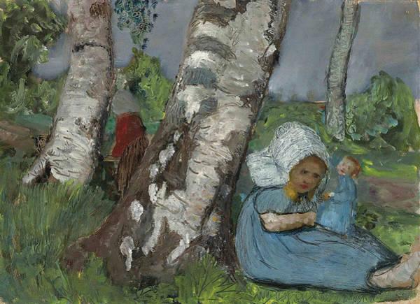 Paula Wall Art - Painting - Child With Doll Sitting On A Birch Trunk  by Paula Modersohn-Becker