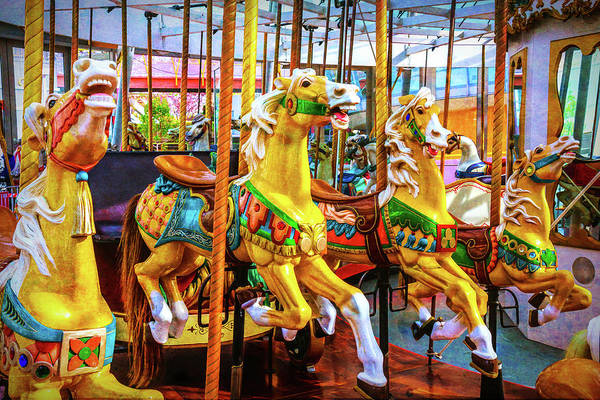Photograph - Childhood Carrousel Horse Ride by Garry Gay