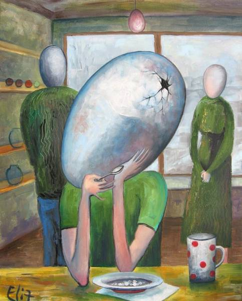 Broken Egg Painting - Childhood by Elisheva Nesis
