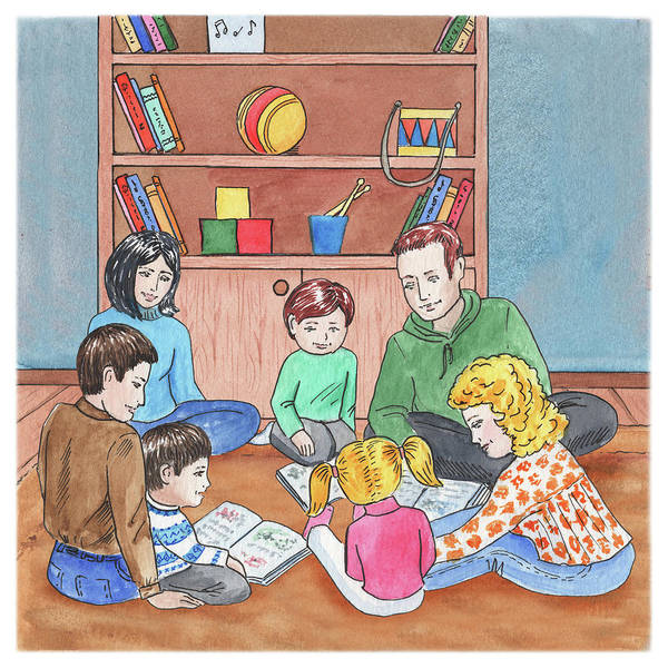 Parent Painting - Children And Parents Reading  by Irina Sztukowski