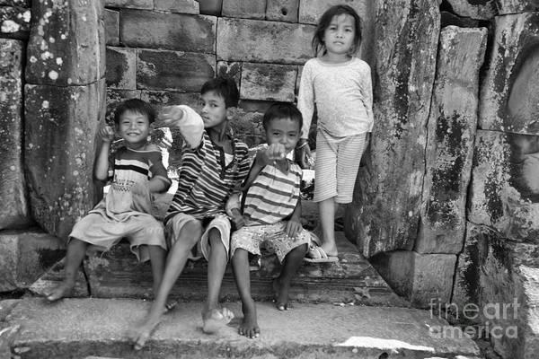 Phnom Penh Wall Art - Photograph - Children Angkor Wat  by Chuck Kuhn