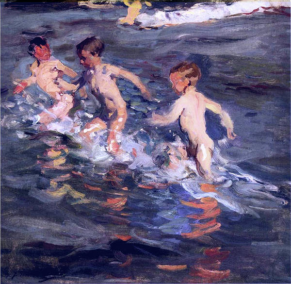 Painting - Children At The Beach by Juaquin Sorolla