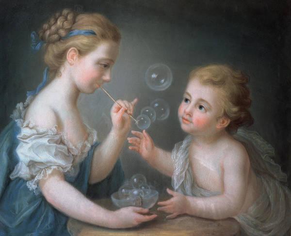 Jean Etienne Liotard Wall Art - Painting - Children Blowing Bubbles by Jean-Etienne Liotard