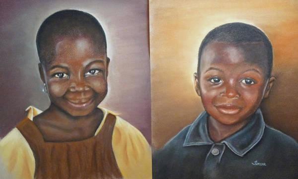 Ghana Painting - Children From Kanoewle by Teresa  Harris