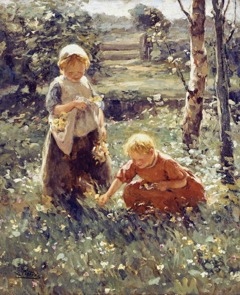 Camomile Painting - Children In A Field by Evert Pieters