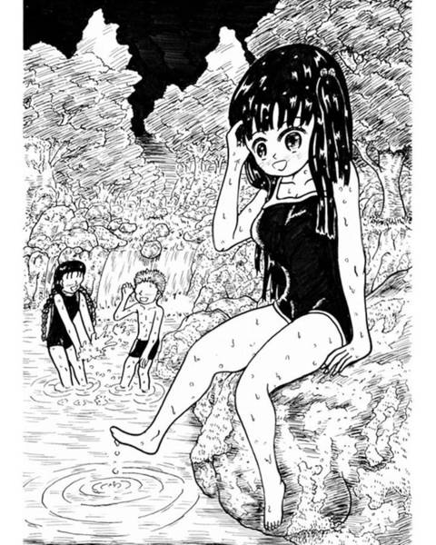 Ink Drawing - Children In A Mountain Stream by Hisashi Saruta