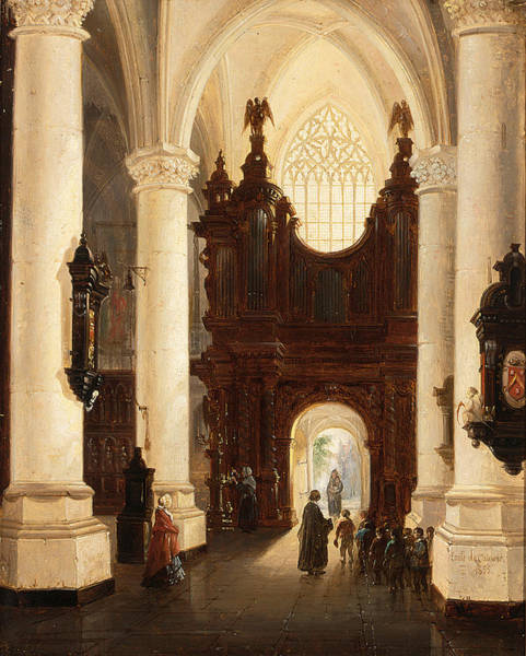Wall Art - Painting - Children Leaving A Church After The Mass by Emile Pierre Joseph De Cauwer