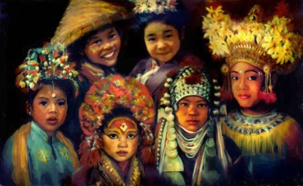 Chinese Girl Wall Art - Painting - Children Of Asia by Jean Hildebrant