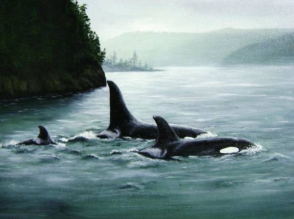 Blackfish Wall Art - Painting - Children Of The Whulge by Laurilee Taylor