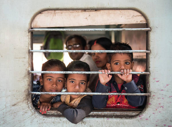 Wall Art - Photograph - Children On The Train by Michalakis Ppalis
