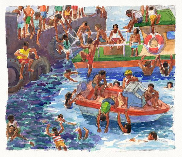 Children Playing At Avarua Wharf  Art Print