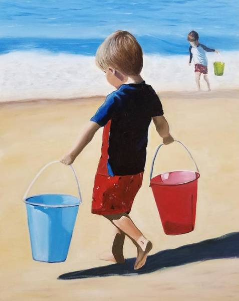 Sand Castle Painting - Children Playing On The Beach by Karyn Robinson