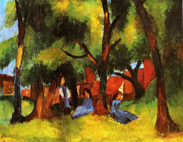 Painting - Children Under Sunny Trees by August Macke