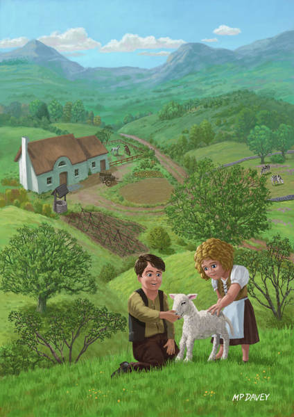 Painting - Children With Lamb In Country Landscape by Martin Davey
