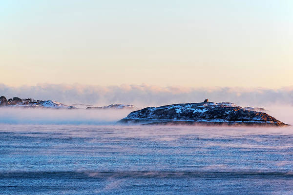 Photograph - Children's Island Shrouded In Sea Smoke From Castle Rock Marblehead Ma by Toby McGuire