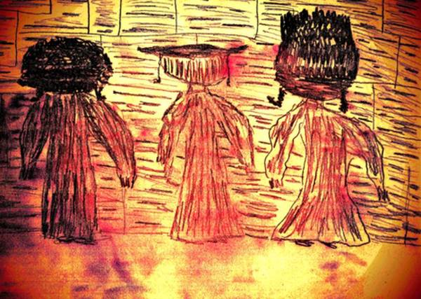Hasidim Wall Art - Drawing - Child's View Of The Western Wall by Devorah Fraser
