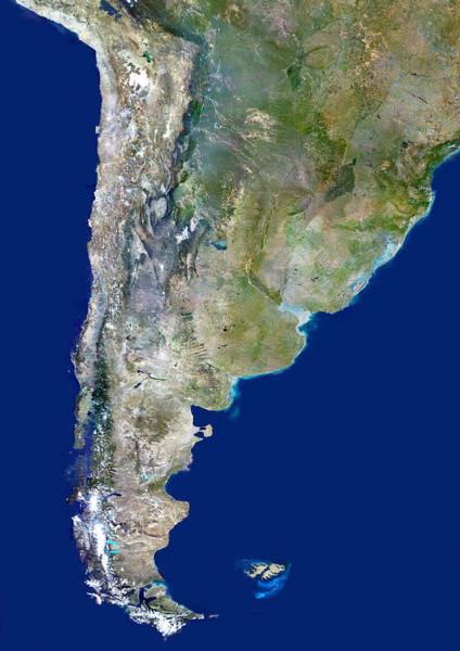 Wall Art - Photograph - Chile And Argentina, Satellite Image by Planetobserver