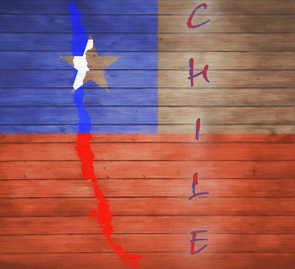 Flag Of Chile Wall Art - Mixed Media - Chile Rustic Map On Wood by Dan Sproul