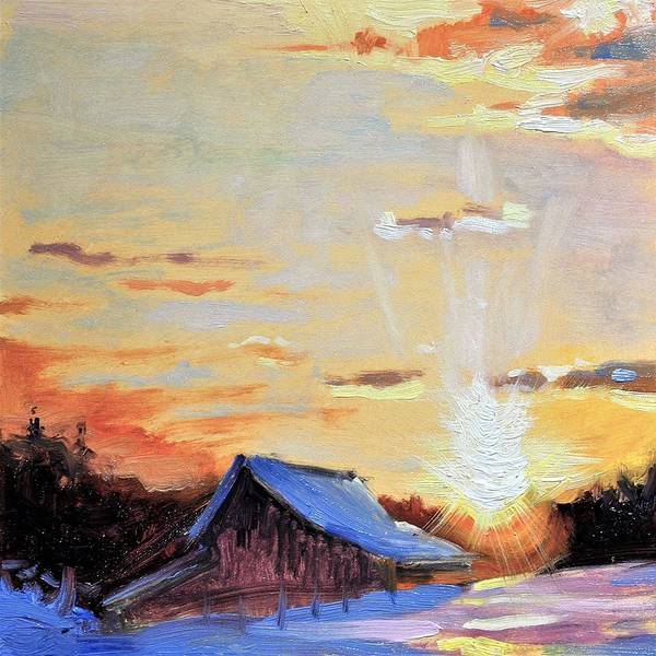 Barn Snow Painting - Chill Of Winter's Dawn by Spencer Meagher