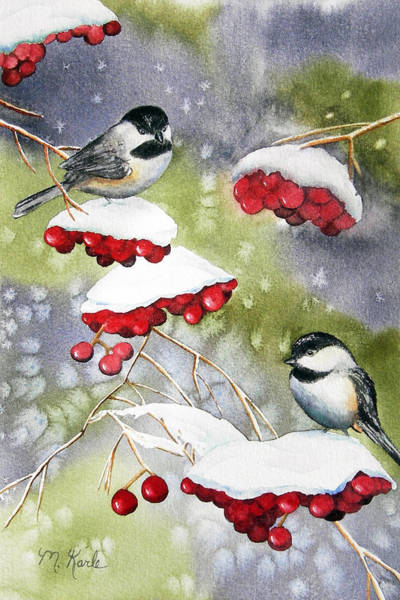 Painting - Chilly Chickadees by Marsha Karle