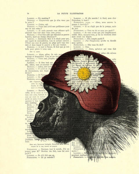 Wall Art - Digital Art - Chimpanzee With Helmet Daisy Flower Dictionary Art by Madame Memento