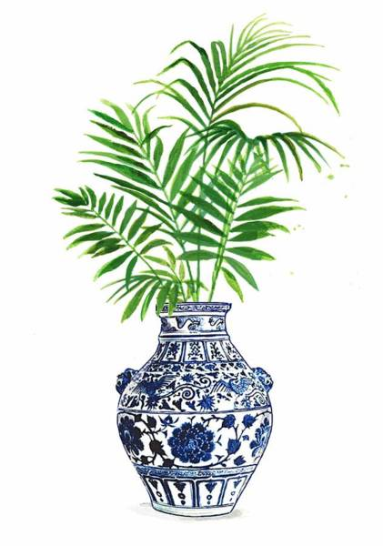 Ming Tree Painting - China Blue Vase 2 With Palm Leaves by Green Palace