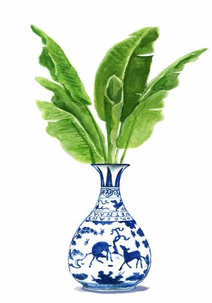 Ming Tree Painting - China Blue Vase With Banana Leaves by Green Palace