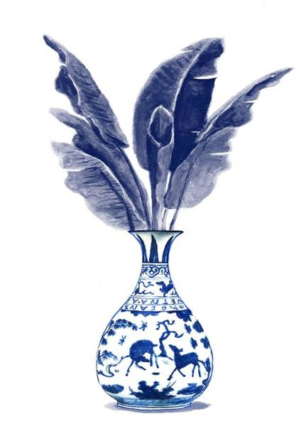Ming Tree Painting - China Blue Vase With Banana Leaves2 by Green Palace
