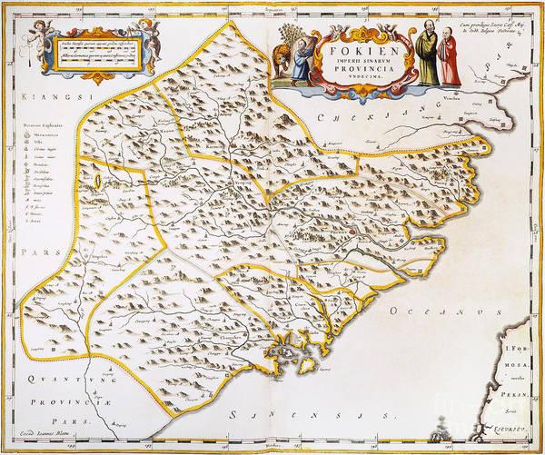 Photograph - China: Fujian Map, 1662 by Granger