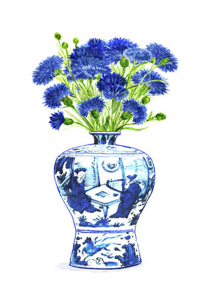 Blue Cornflower Painting - China Ming Vase With Flowers by Green Palace