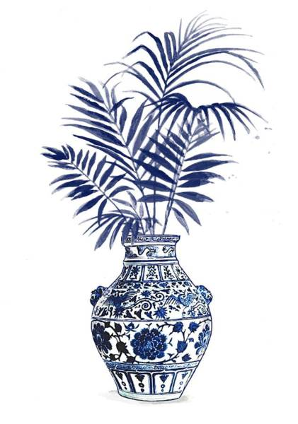 Ming Tree Painting - China Ming Vase With Palm Leaves 2 by Green Palace