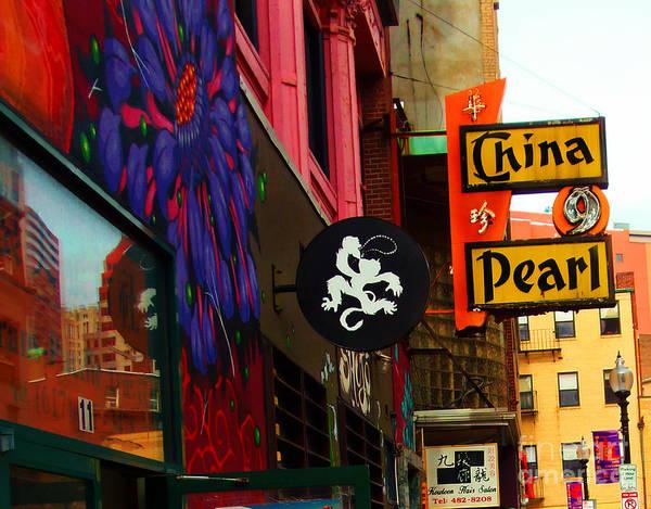 Photograph - China Pearl Sign, Chinatown, Boston, Massachusetts by Lita Kelley