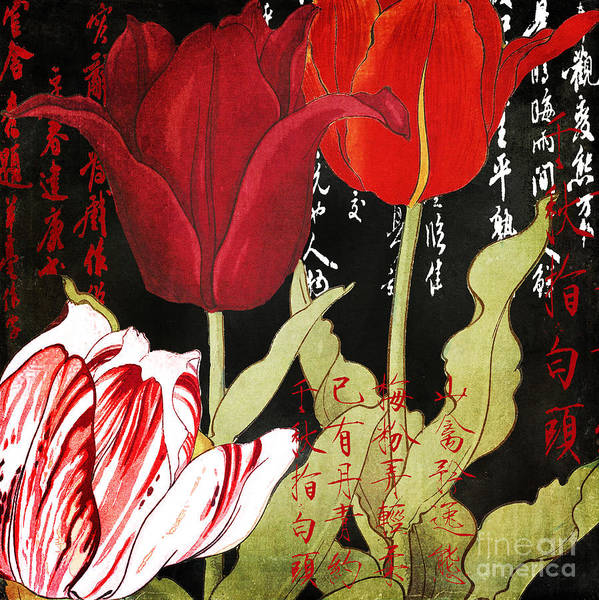 Wall Art - Painting - China Red Tulips by Mindy Sommers