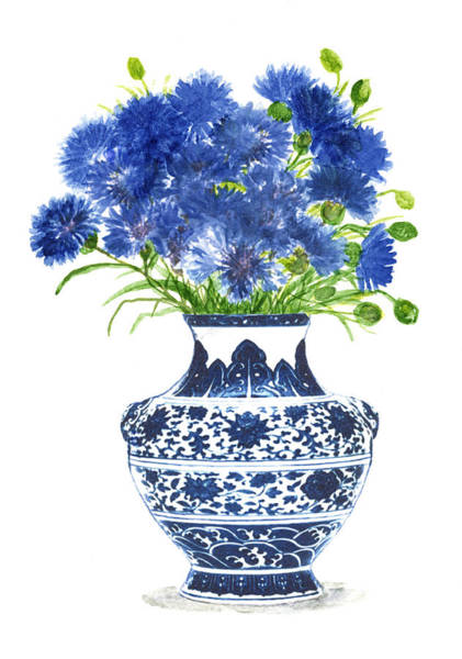 Blue Cornflower Painting - China Vase With Cornflowers by Green Palace